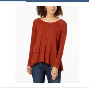 Style & Co Cotton High-Low Top